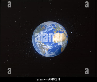 Painting of planet Earth viewed from space. - Stock Photo