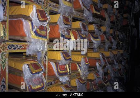gompa library Pangboche Solu Khumbu Nepal - Stock Photo