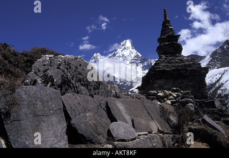 mani wall below Ama Dablam Solu Khumbu Nepal - Stock Photo