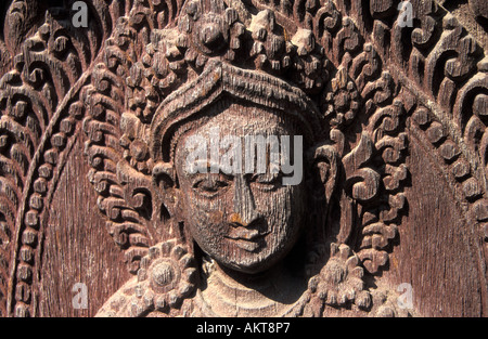 temple wood carving Pashupatinath Nepal - Stock Photo