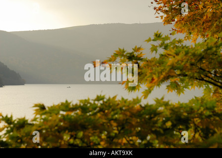 Fishing boat on lake Ashi near Fuji-San - Stock Photo