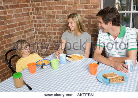 A family having breakfast - Stock Photo