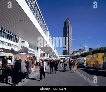 D-Frankfurt on the Main, Hesse, trade, fair, exhibition site during the Frankfurt Book Fair, Fair Tower, skyscraper, - Stock Photo