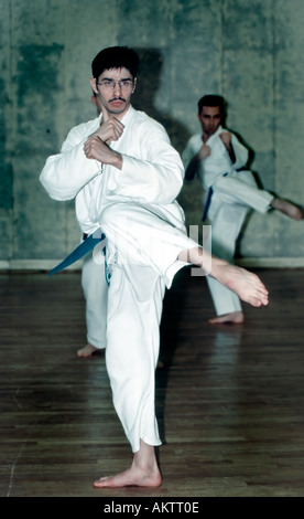 PARIS France, Young Male Adult in Karate Uniform, Practicing Sport in Class - Stock Photo