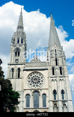 Chartres France, French Monument 'Notre Dame Cathedrale' Front View With Bell Towers - Stock Photo