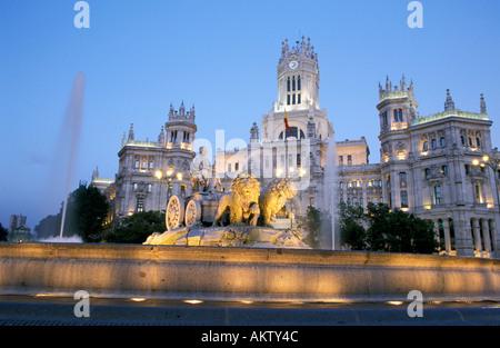Plaza de la Cibeles and Palacio de Comunicaciones in Madrid - Stock Photo