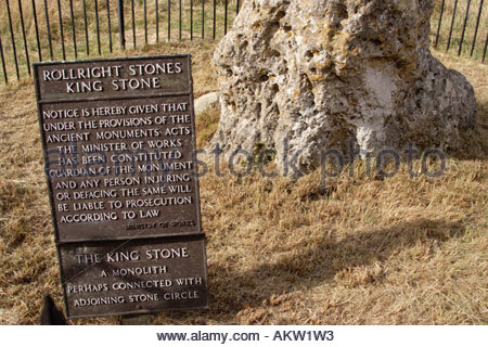The old sign at the King Stone, part of the prehistoric Rollright Stones group in Oxfordshire; England - Stock Photo