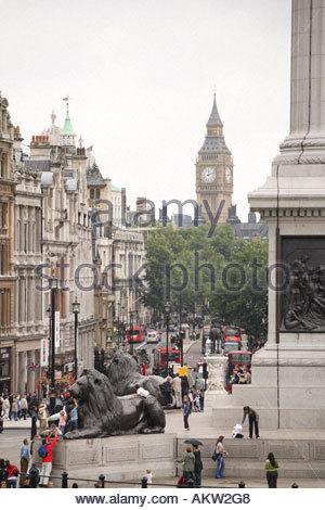 View from Trafalgar Square towards Westminster, London - Stock Photo