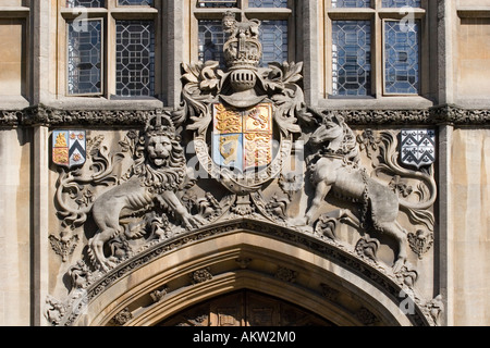 Royal coat of arms above entrance to Brasenose College Oxford - Stock Photo