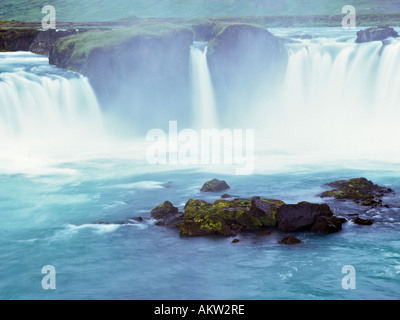 GODAFOSS or FALL of the GODS powerfull waterfall on the Skjalfandafljot river in Godafoss Iceland Europe - Stock Photo