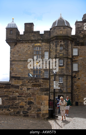 The Keep of Edinburgh Castle containing the Honours of Scotland or the Scottish Crown Jewels Edinburgh Scotland - Stock Photo