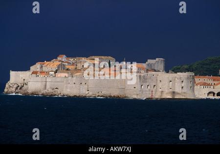 Old Town with city wall Dubrovnik Dalmatia Coratia - Stock Photo