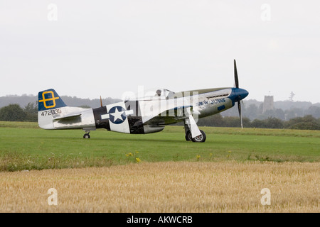 P-51 Mustang fighter aircraft at Rougham airshow August 2006 in Suffolk, UK - Stock Photo