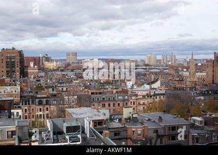 Boston skyline, The view from Newbury Street across the river towards Cambridge Massachusetts USA - Stock Photo