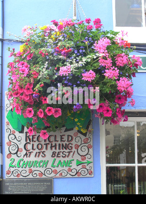 hanging basket with colorful flowers glastonbury town - Stock Photo