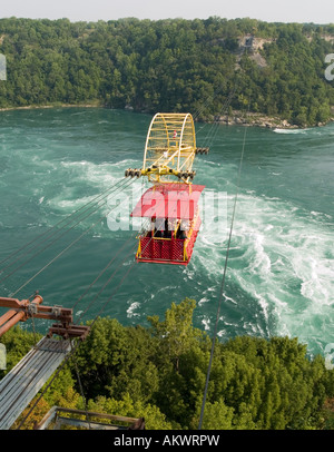 The Whirlpool Aero Car, an antique cable car suspended over the Whirpool Rapids Gorge in Niagara Falls, Ontario - Stock Photo