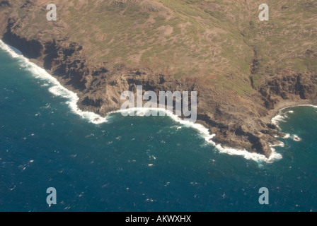 Hawaii Molokai island Pacific USA travel tourism aerial coast - Stock Photo