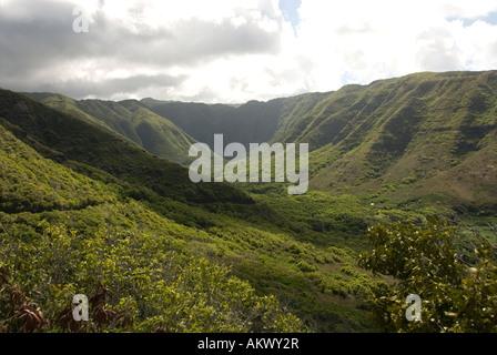 Hawaii Molokai island Pacific USA travel tourism scenic view Halawa Valley - Stock Photo
