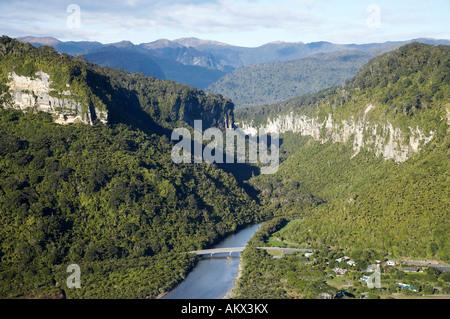 Pororari River Gorge Punakaiki Paparoa National Park West Coast South Island New Zealand aerial - Stock Photo