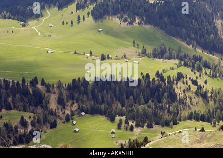 View to Zanser Alm near Geisler Spitzen, Geisler mountain, Dolomite Alps, Dolomites, South Tyrol, Italy - Stock Photo