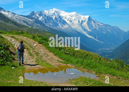 Hiking near Mont Blanc, Haute Savoie, France - Stock Photo