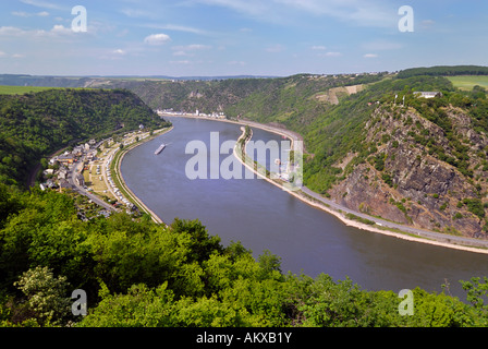 View of the Rhine Gorge and the Loreley rock near St. Goarshausen, Middle Rhine, Rhineland-Palatinate, Germany - Stock Photo
