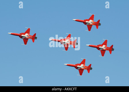 Formation flight with the aerobatic team Patrouille Suisse - Dittingen, Switzerland, Europe. - Stock Photo