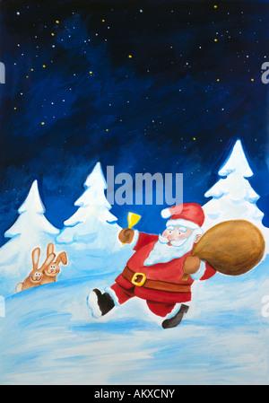 Santa Claus brings gifts, illustration - Stock Photo