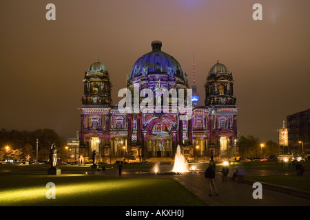 The Berlin Cathedral, Berlin, Germany, during the Festival of Lights 2007 - Stock Photo