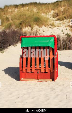 Wicker beach chair, Heligoland, Germany - Stock Photo