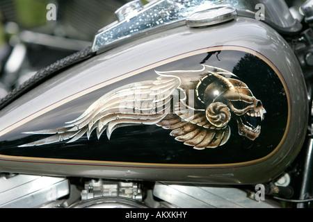 Harley Davidson, Gasolinetank, detail. - Stock Photo