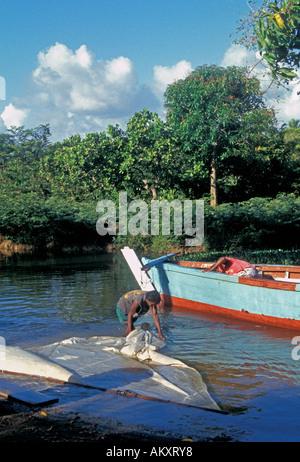 Nicaragua Miskito Coast Sandy Bay Indian vilage - Stock Photo