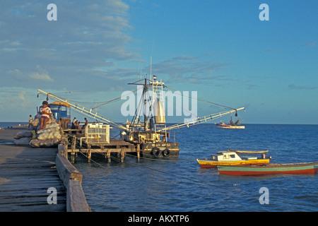 Nicaragua Miskito Coast mosquito indians Puerto Cabezas fishing boats at dock - Stock Photo