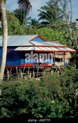 Nicaragua Miskito Coast Sandy Bay Indian village - Stock Photo