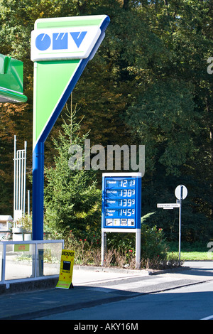 Indipendent gas station with price board, Hessen, Germany - Stock Photo