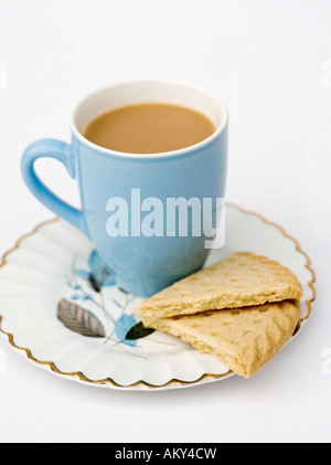 Mug of tea with shortbread biscuits - Stock Photo
