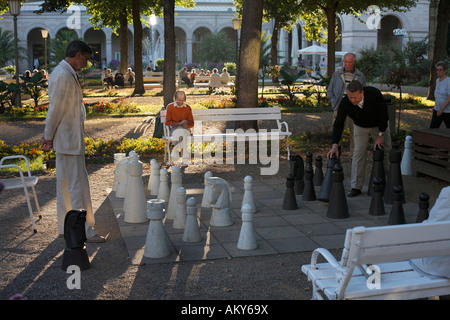 Chess in spa garden Bad Kissingen, Rhoen, Franconia, Germany - Stock Photo