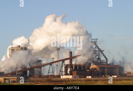 SSI blast furnace and steel factory at Redcar Teesside Cleveland England - Stock Photo