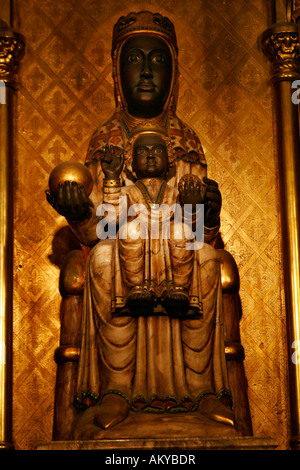 Statue of the Virgin Mary inside the cathedral in Barcelona, Catalonia, Spain - Stock Photo