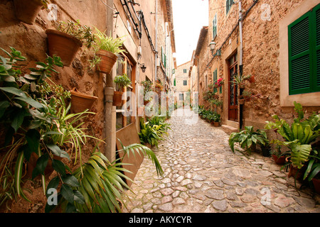 Picturesque lane, Valldemossa, Majorca, Spain, Europe - Stock Photo