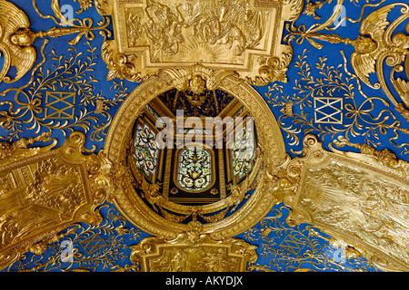 Ceiling details, 'Rich chapel', the private Prayer Room of the Duke Maximilian I in the Residence Museum, Munich, - Stock Photo