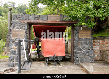 Commemorative monument of coal, truck, steel structure, pick and shovel from Mount Kembla Colliery.1881-1970. - Stock Photo