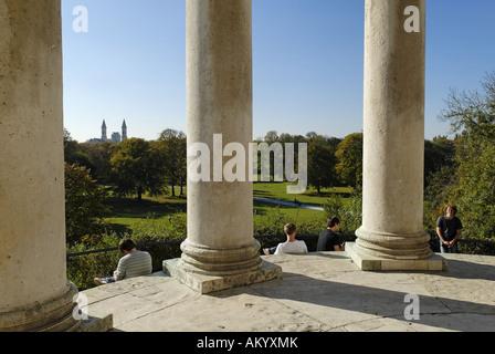 Monopteros, Englischer Garten, English Garden, Munich, Bavaria, Germany - Stock Photo