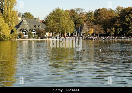 Kleinhesseloher See, Englischer Garten, English Garden, Munich, Bavaria, Germany - Stock Photo