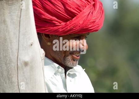 Durga, a Rajasthani farmer, in his fields in Nimaj, Rajasthan, India. - Stock Photo