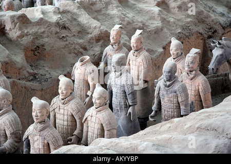 Terracotta Army, Mausoleum of the First Qin Emperor near Xi'an, China - Stock Photo