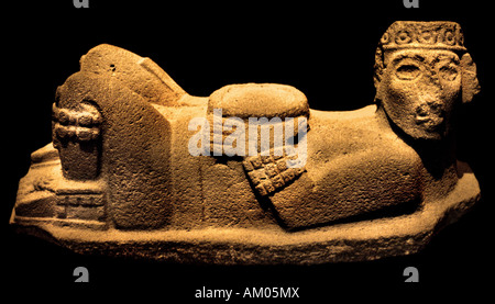 National Antropological museum Mexico Toltec Chacmool Tula offering place Temple of Venus - Stock Photo