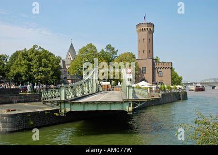 Historic swing bridge with the Malakoff tower, Cologne, North Rhine-Westphalia, Germany - Stock Photo