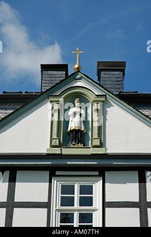 Facade, detail, St. Mary school, Brilon, North Rhine-Westphalia, Germany