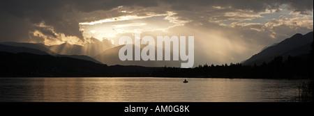 Stormy atmosphere at Lake Millstatt, Carinthia, Austria - Stock Photo